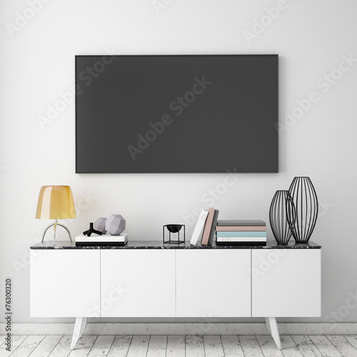 mock up tv screen with loft interior background, 3D render - 76300320