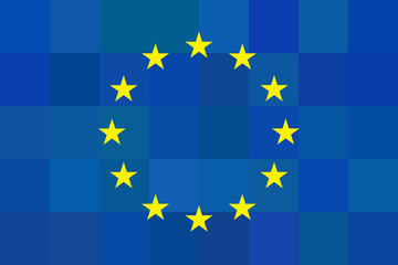 European union flag on unusual blue squares background.