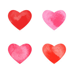 Collection of watercolor hearts