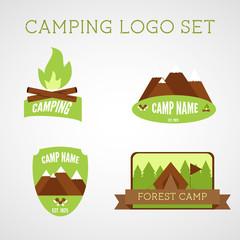 Set of outdoor adventure badges and campsite logo emblems.Summer