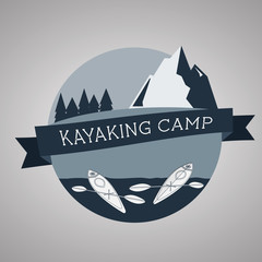 Kayaking camp logo. Expedition label and sticker. Unusual design