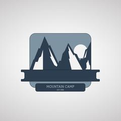 Mountain Camping wilderness adventure badge graphic design logo