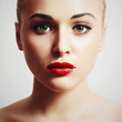 Beautiful Young Woman.Beauty Model girl.red lips make-up