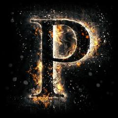 Fire alphabet. Letter P.