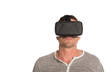 Mann mit 3D VR Cyberbrille