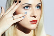 Beautiful blond Woman with Manicure.Beauty Girl.shellac Nail
