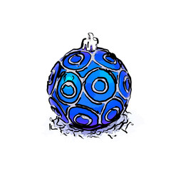 Drawn blue christmas ball isolated on white
