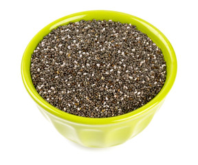 chia seeds in a bowl isolated on white