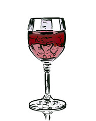 Drawn wine glass