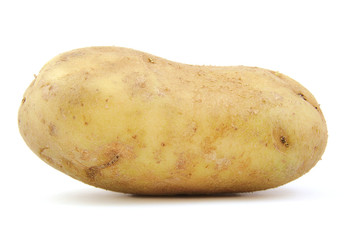 Front view of potato on white background.