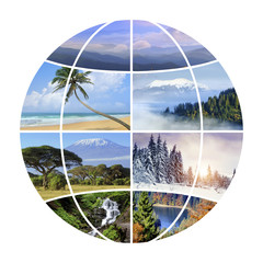 Globe design with photographs nature