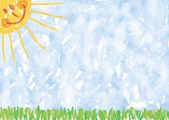 Kinderzeichnung: Sommerlicher Hintergrund, Sonne, Himmel, Gras