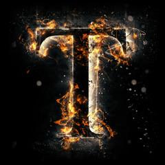 Fire alphabet. Letter T.
