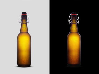 Liter beer bottles isolated on grey and black backgrounds