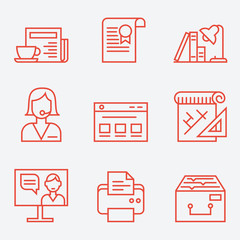 Office life icons, thin line style, flat design