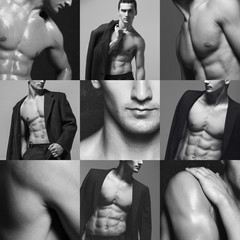 Fifty shades of grey male fashion concept. Collage (mosaic) of f