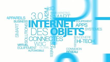 Internet des objets connectés nuage de mots texte animation