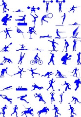 set of icons are sports people