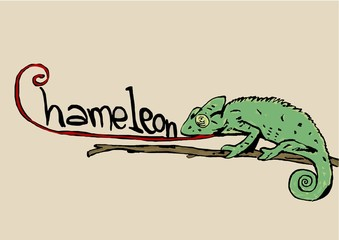 Chameleon with text