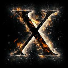 Fire alphabet. Letter X.