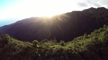 Aerial of Kuliouou trail in Honolulu, overlooking south Oahu