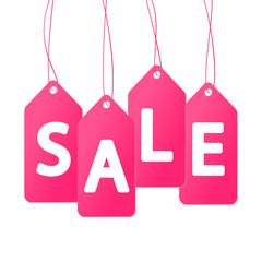Pink price tags on white