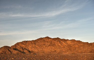 Mountains in gravel desert, Oman