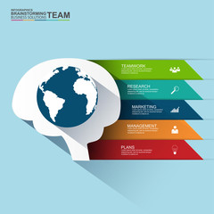 Flat design concepts for teamwork and brainstorming infographic