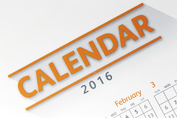 Text on calendar show in 2016 year.