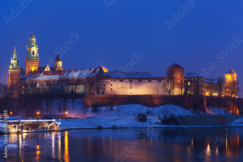 View of  Wawel castle and Vistula River in Krakow in night