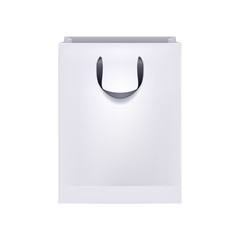 Blank white paper bag with black handles.