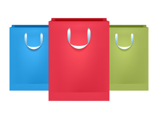 Set of colorful paper bags.