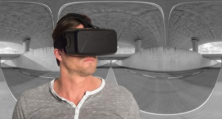 Mann mit 3D VR Cyberbrille 4
