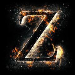 Fire alphabet. Letter Z.