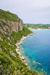 Lagoon and high cliffs near Agios Georgios, Corfu, Greece