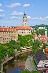 Cesky Krumlov in vertical scene - castle and river