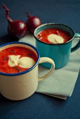 Ukrainian and russian national red soup borsch