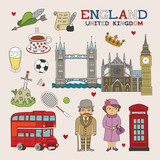 Vector England Doodle Art for Travel and Tourism poster