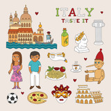 Vector Italy Doodle Art for Travel and Tourism poster