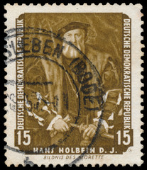 Stamp printed in DDR shows Portrait of Morette by Holbein