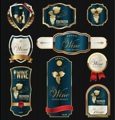 Illustration golden frames with grapevine