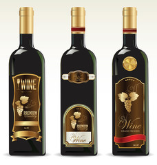Black bottles for wine with gold and brown labels