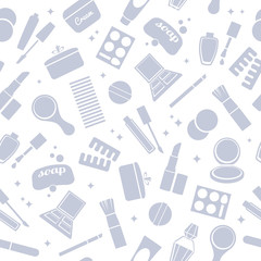 Cosmetics and toiletry icons seamless pattern.