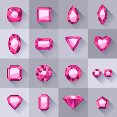 Set of flat style pink jewels.