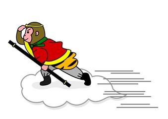 雲に乗って飛ぶ孫悟空