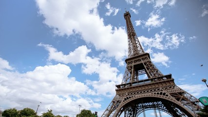 Time lapse of Eiffel tower and clouds, Paris, France