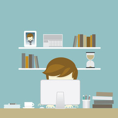 businessman and work space illustration