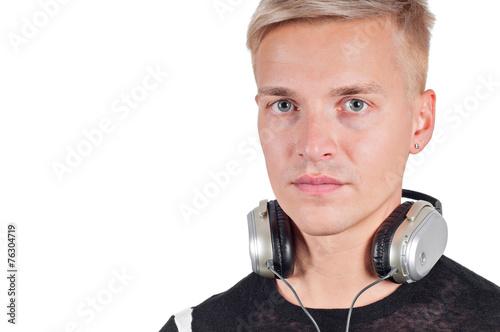 Closeup portrait of man with headphones - 76304719