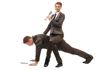 Relaxed businesswoman riding on man working