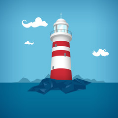 Lighthouse in the sea, vector illustration